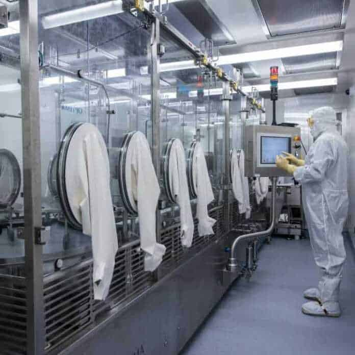 Ajinomoto Bio-Pharma Services has established a high-containment bioconjugate manufacturing facility for the production and fill and finish of Highly Potent Active Pharmaceutical Intermediates (HPAPI) and Antibody Drug Conjugates (ADC). The facility, developed by SKAN AG, has been designed for safe handling and manipulation of very low OEL compounds (down to 1 ng/m3) while maintaining aseptic conditions and cGMP compliance. Photo courtesy: © 2020 Ajinomoto Bio-Pharma.
