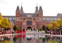 The sign I Amsterdam in front of rijksmuseum in Amsterdam, The Netherlands.