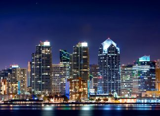 Featured Image - San Diego, CA at night. Courtesy 2019 Fotolia