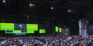 The AACR Annual Meeting in better times - before COVID19: the AACR annual meeting opening plenary session in 2018 at the McCormick Convention Center in Chicago, Illinois with the 2019 president-elect Elaine Mardis, Ph.D, who served as program committee chair for this 2018 meeting, addressed attendees. Photo Courtesy © AACR/Todd Buchanan.